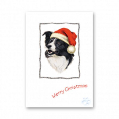 BORDER COLLIE CHRISTMAS GREETINGS CARD GLITTER